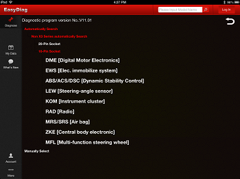 Screenshot of R50 R52 R53 Easy Diag module list
