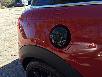 F56 Black Gas Cap Cover Installed