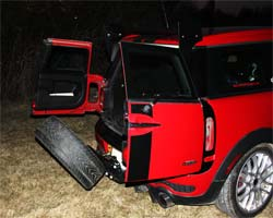 Clubman Spare Tire Carrier Folded down