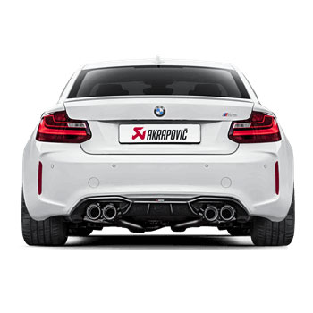 BMW M2 Akrapovic Exhaust Installed with Carbon Diffuser Panel