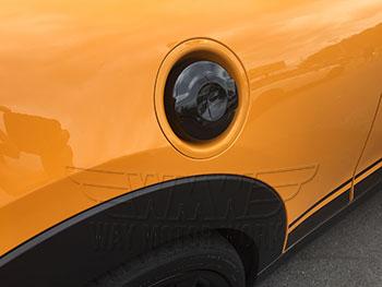 Black Gas Cap Cover installed on F56 MINI Cooper S