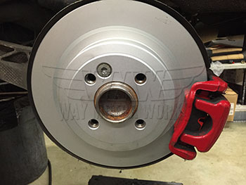R56 MINI S JCW WMW Rear Brake Rotors Installed