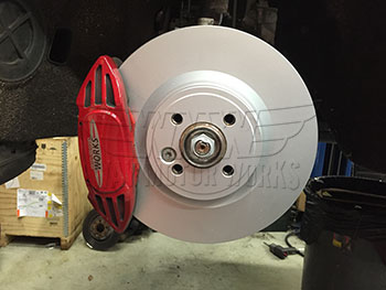 WMW JCW Plain Face Front Brake Rotors Installed R56