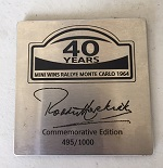 MC40 MINI Paddy Hopkirk Plaque